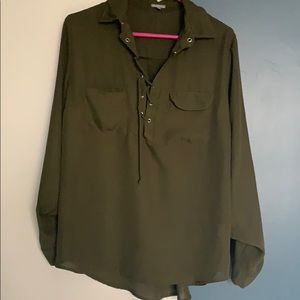 Olive tie up blouse with chest pockets